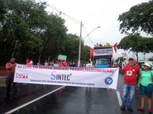 Diretoria do Sintec-ES participa do ato contra as reformas da previdência e trabalhista, em Vitória.